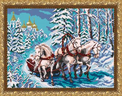VKA3042 Тройка лошадей - схема для вышивания (Art Solo)