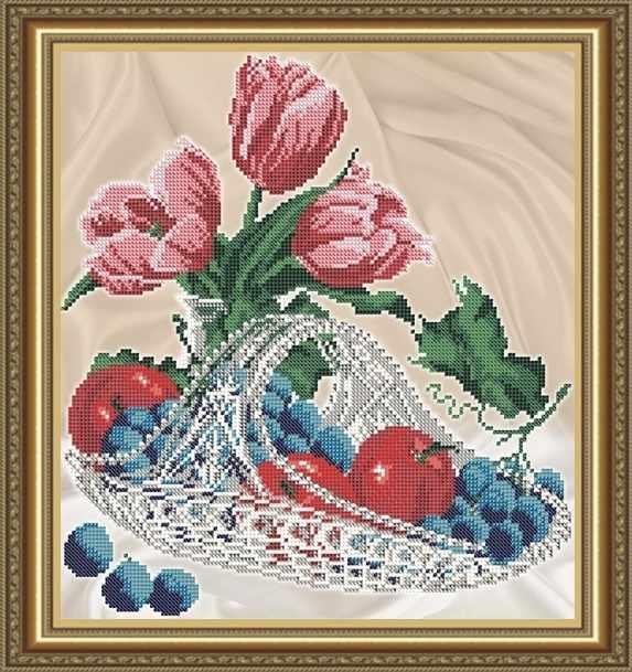 VKA4707 Яблоки с виноградом в хрустале - схема для вышивания (Art Solo)
