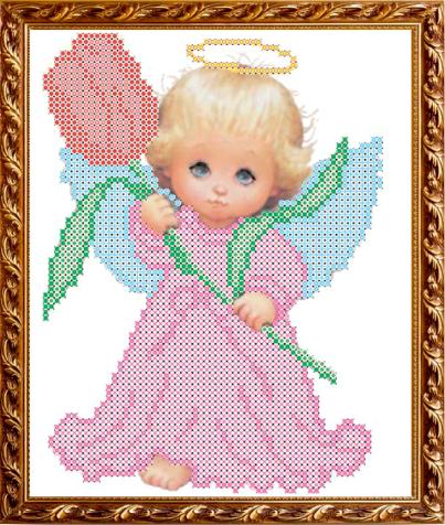 VKA5004 Ангелок с тюльпаном - схема для вышивания (Art Solo)