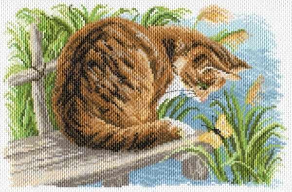 1688 Любопытный котенок - рисунок на канве (МП)