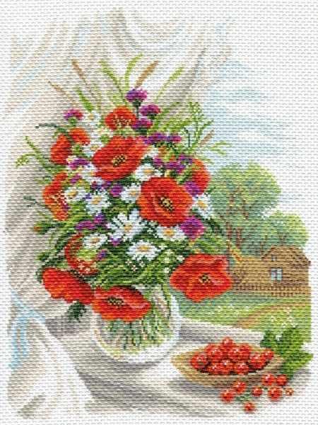 1687 Полевые цветы - рисунок на канве (МП)