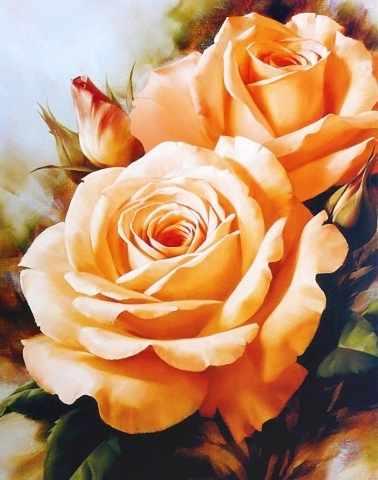 Алмазная вышивка Чайные розы (АЖ-1132) - картина стразами