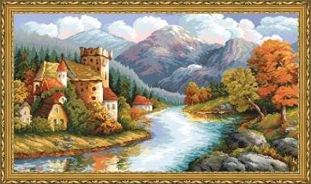 Алмазная вышивка Замок у гор (АЖ-1146) - картина стразами