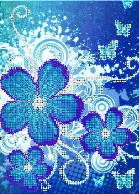 КМЧ-4356 Синие цветы - схема для вышивания (Мастерица)