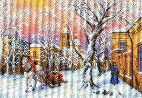 1695 Зимний вечер - рисунок на канве (МП)