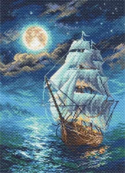Схемы вышивки крестом ночное море