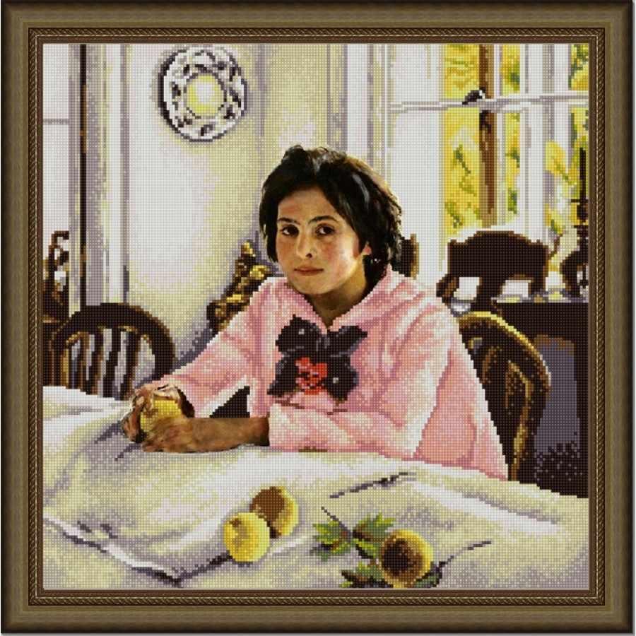 НИК 9824 Девочка с персиками - схема для вышивания (Конёк)