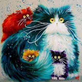 R-913 Цветные коты - мозаика Милато