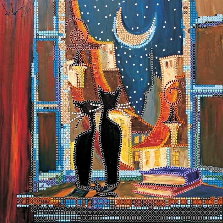 """АС-471 """"В окошке кошки"""" - схема для вышивания (Абрис Арт)"""