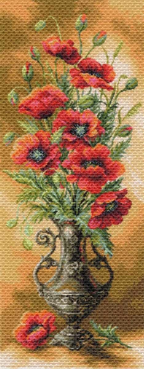 1706 Пылающие маки - рисунок на канве (МП)