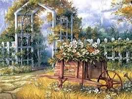 O-598 Тележка с цветами - мозаика Милато