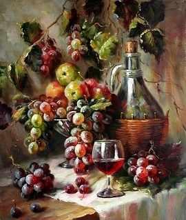 O-549 Вино и фруктовая корзина - мозаика Милато