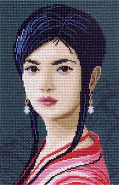 872 Девушка - рисунок на канве (МП)