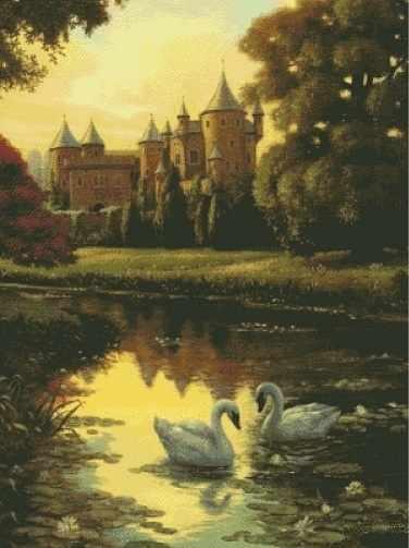 O-533 Лебеди у замка - мозаика Милато