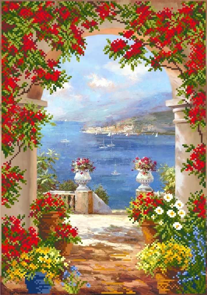 4156 Цветы средиземноморья - схема для вышивания (Матрёнин посад)