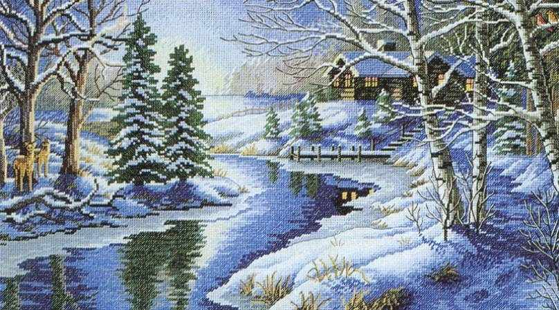 1008-14 Зимняя речка (Белоснежка)