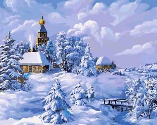 137-AB Зима в деревне (Белоснежка)