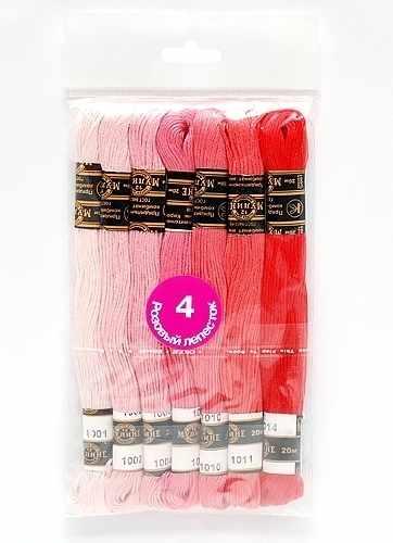 "Набор мулине х/б ""Цветик-семицветик"" 4 Розовый лепесток 7 шт."
