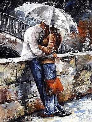 Алмазная вышивка Ag833 - Романтическая прогулка под дождем - мозаика