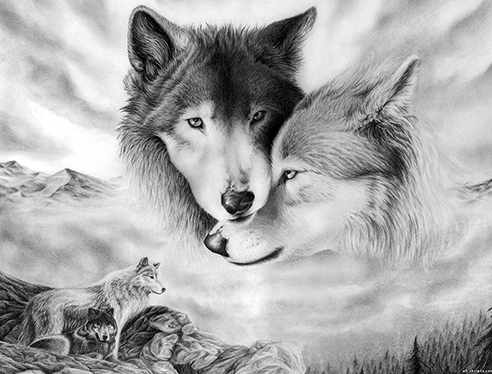 Алмазная вышивка Ag410 - Волчья любовь - мозаика