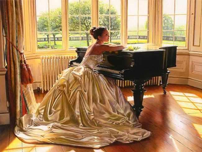 Алмазная вышивка Ag821 - Пианистка - мозаика