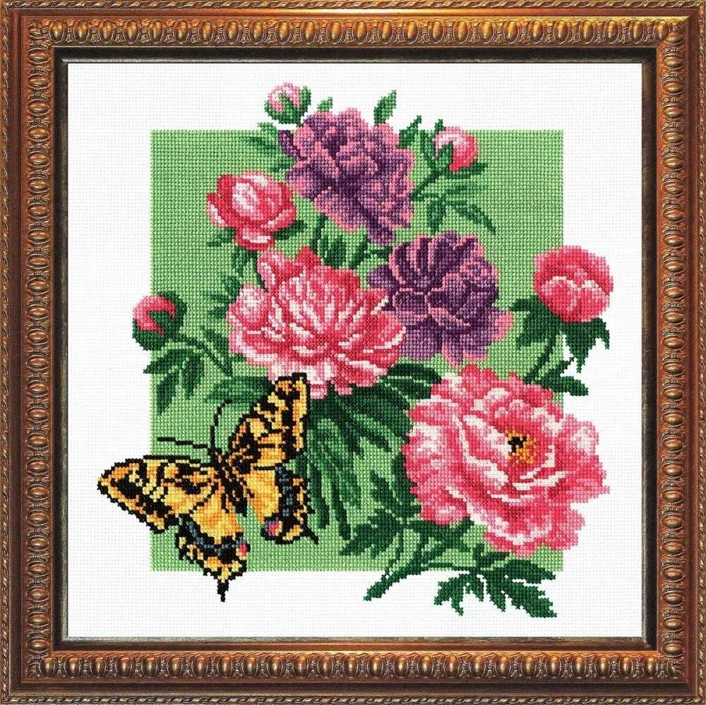 "864 ""Пионы с бабочкой"""