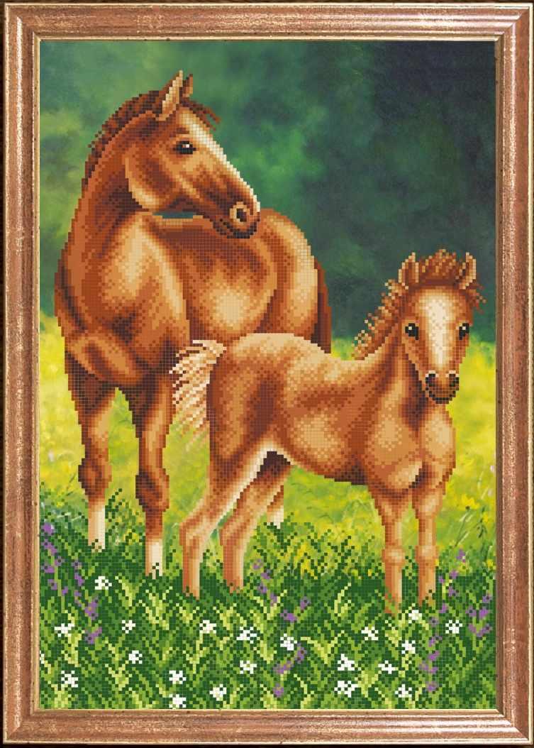 КС-066 Лошадь с жеребенком - схема для вышивания (Магия канвы)