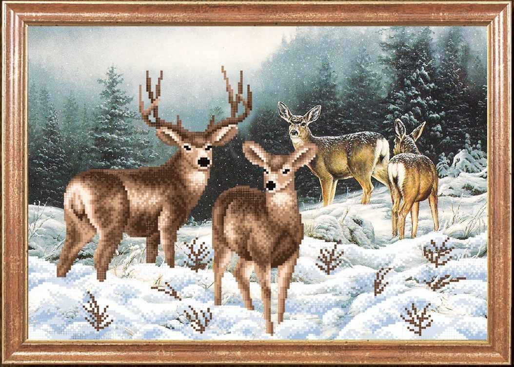 КС-060 Семья оленей - схема для вышивания (Магия канвы)