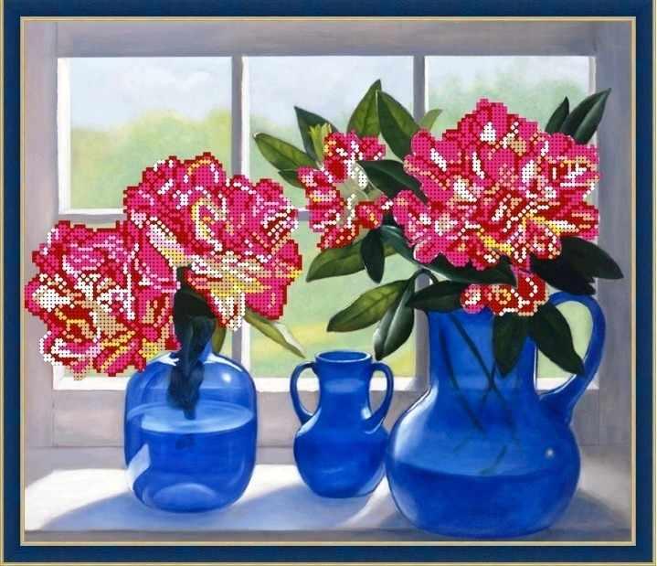 Б-3206 - Цветы на окне - схема для вышивания (Алёшкина любовь)