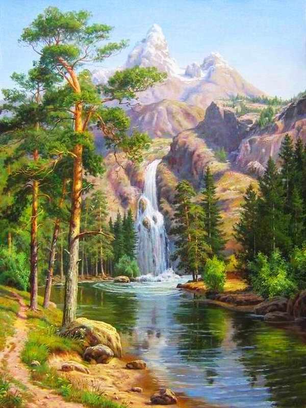 Алмазная вышивка Горный водопад (АЖ-1347) - картина стразами