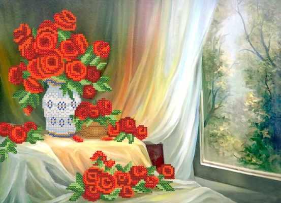 РКП-507 Алые розы - схема для вышивания (Марiчка)