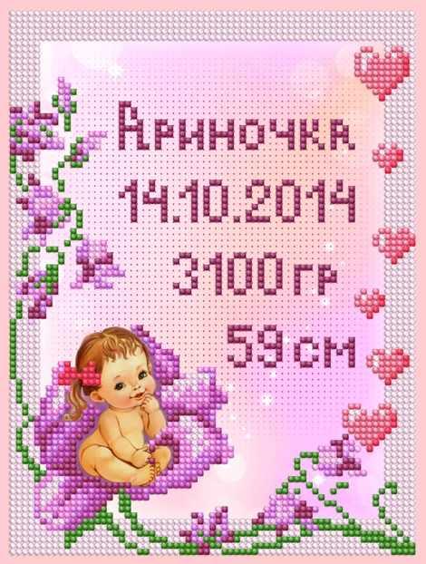 1Нбис-024арт Метрики малышки - набор