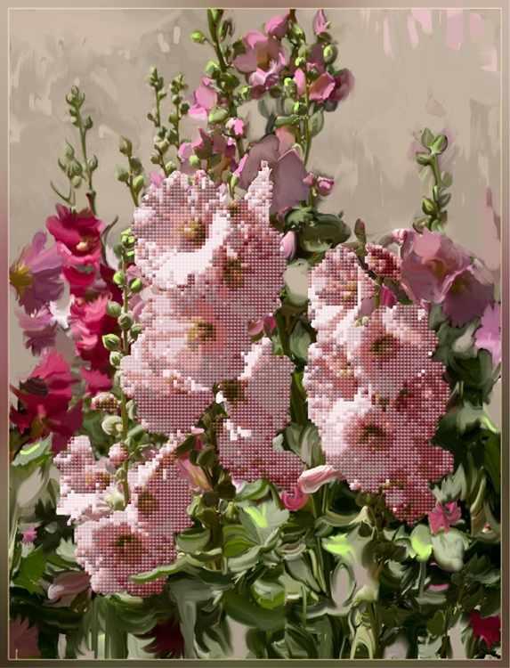 1Нбис-028арт Летний сад (мальвы) - набор