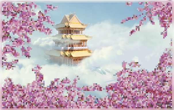 бис-010арт Небесная пагода - схема для вышивания (Художественные мастерские)