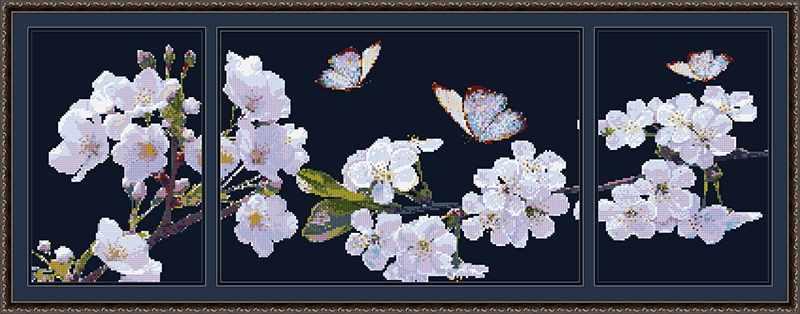 бис-039арт Аромат весны (триптих (вариант 1)) - схема для вышивания (Художественные мастерские)