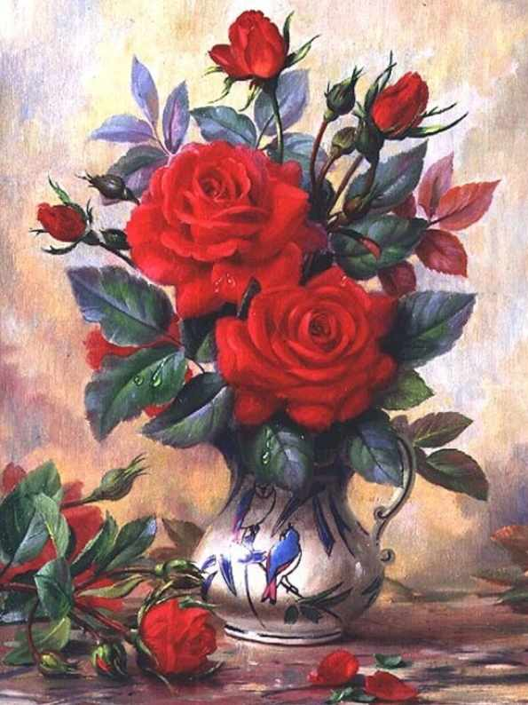 Алмазная вышивка Прекрасные розы (АЖ-1349) - картина стразами