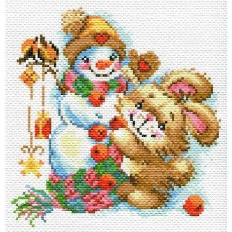 1779 Веселая зима - рисунок на канве (МП)