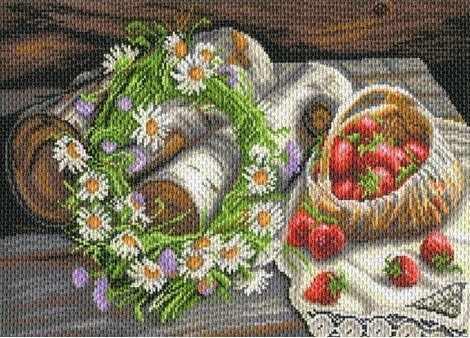 1788 Русская деревня - рисунок на канве (МП)