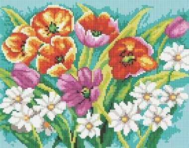 Алмазная вышивка 271-ST-S Прекрасные цветы - мозаика на подрамнике (Белоснежка)