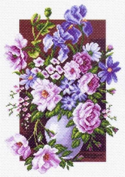 1225 Букет цветов - рисунок на канве (МП)