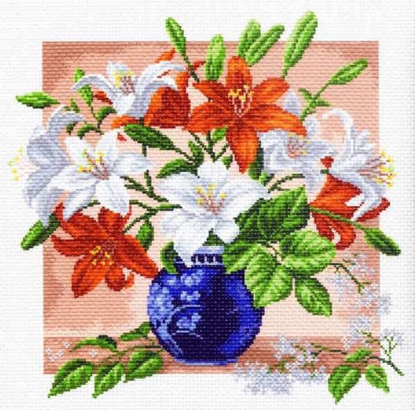 1249 Лилии - рисунок на канве (МП)