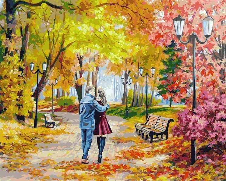 142-AB Осенний парк, скамейка, двое - раскраска (Белоснежка)