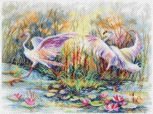 1769 Танец фламинго - рисунок на канве (МП)