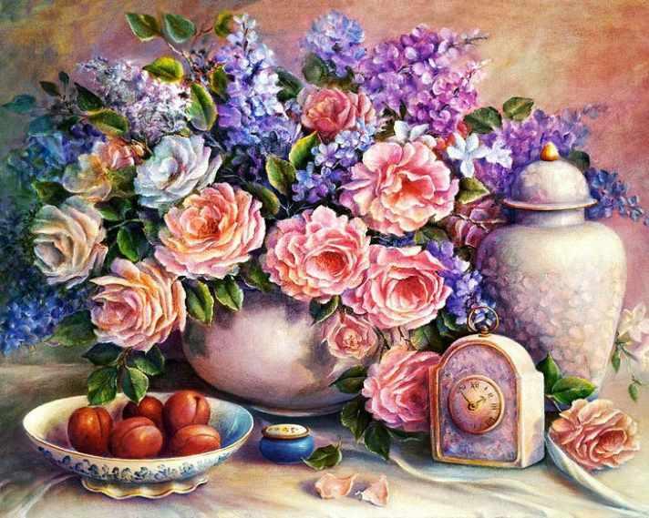 Алмазная вышивка Розовый натюрморт (АЖ-1374) - картина стразами