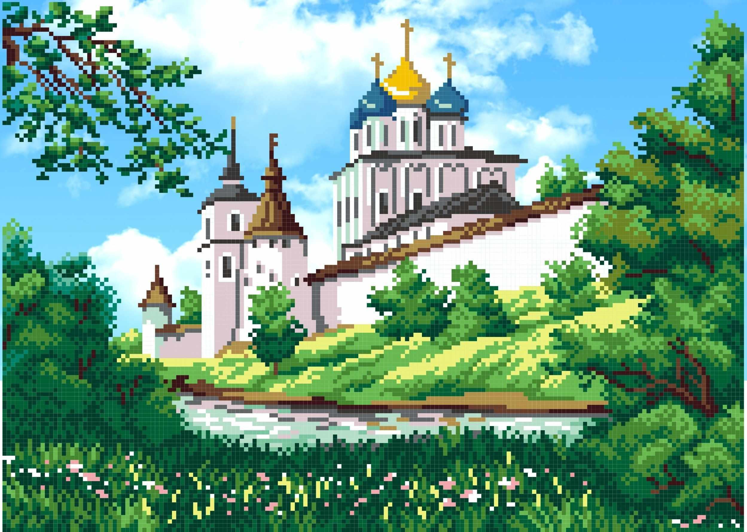Г-107 Монастырь весной - схема для вышивания (М.П. Студия)