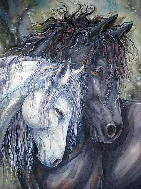 Алмазная вышивка Пара лошадей (АЖ-1386) - картина стразами