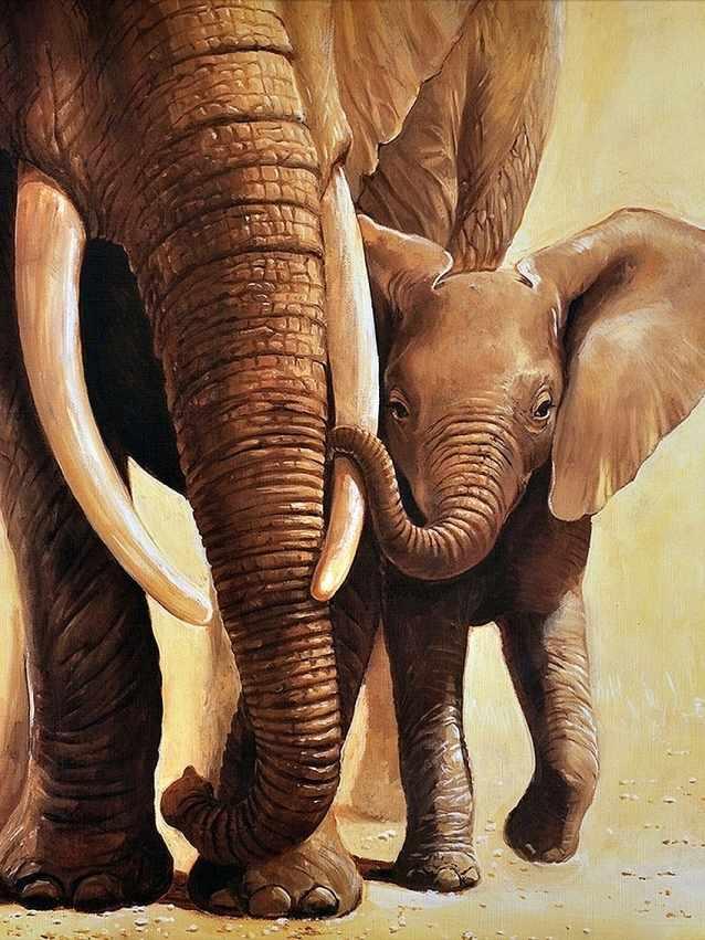 Алмазная вышивка Слоненок с мамой (АЖ-1398) - картина стразами