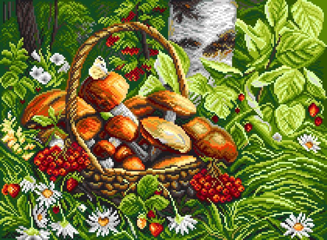 1822 Первые грибы - рисунок на канве (МП)