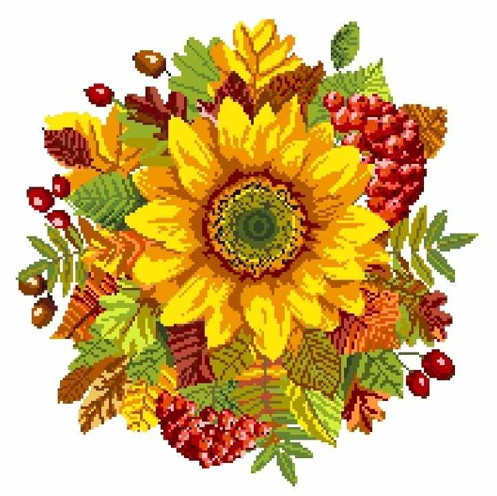 1814 Осенний подсолнух - рисунок на канве (МП)