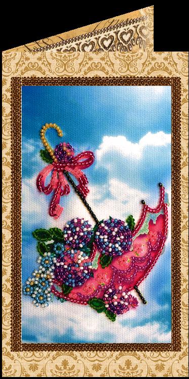 АО-121 Набор для вышивки бисером «Открытка» Цветы в зонтике